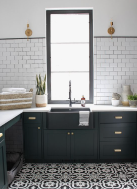 Subway Tile and Dark Green Cabinets
